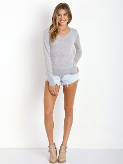 Splendid Cashmere Blend V Neck Pullover Heather Grey