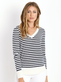 Splendid Cashmere Blend V Neck Striped Pullover Navy/Cream