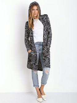 Splendid Carlow Loose Knit Hooded Cardigan Black