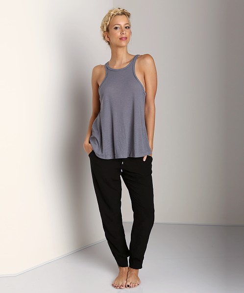 Free People Rayon Slub Long Beach Tank Grey