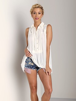 Free People Rayon Gauze Sleeveless Tunic Top