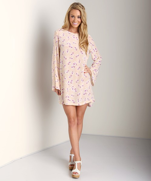 Acacia Tortolla Silk Short Long Sleeve Dress Island Orchid