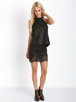 For Love & Lemons Giddy Up Suede Skirt Black