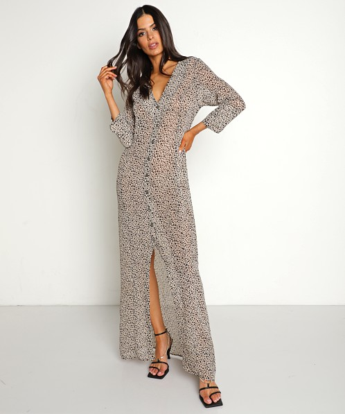 Stillwater 3/4 Sleeve Button Front Maxi Animal Instinct