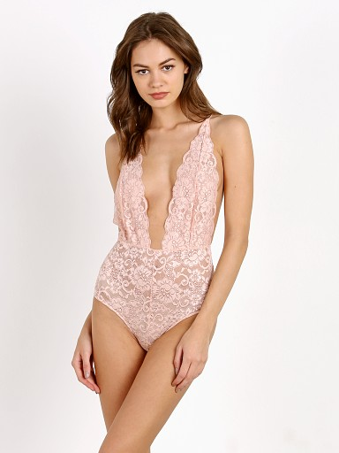 Model in copper rose Hot As Hell Comin' In HAHT Bodysuit
