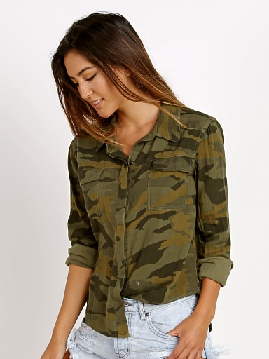 Splendid Camo Double Pocket Shirt Military Olive