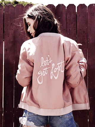 Lovers + Friends Road Trippin Bomber Jacket Nude