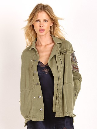 Free People Embellished Military Jacket Olive