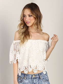 Nightcap Carmen Crochet Top Natural