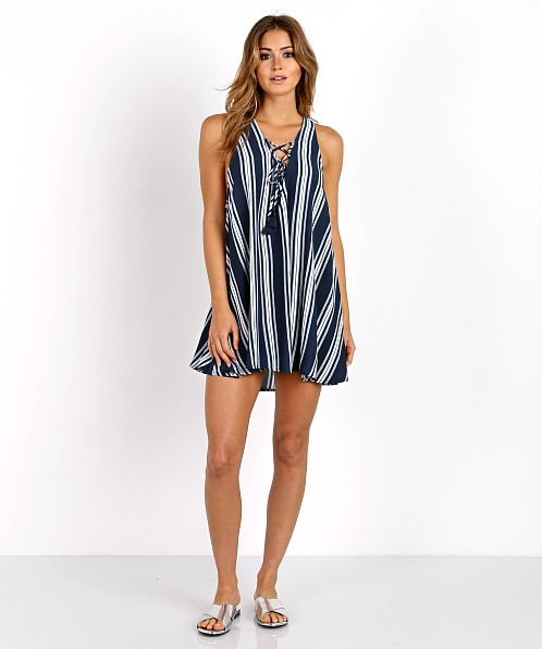 Show Me Your Mumu Rancho Mirage Lace Up Navy Stripe Breeze