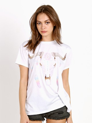 Model in white Show Me Your Mumu Feather Drop Coalson Tee