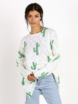 Show Me Your Mumu Cactus Crew Varsity Sweater White