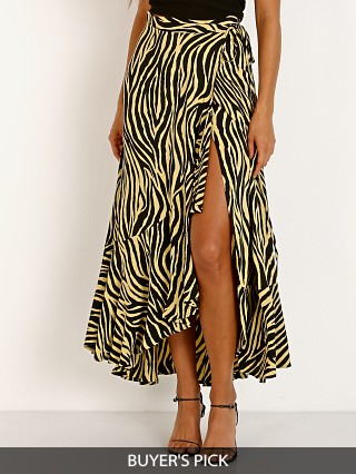 Faithfull the Brand Jasper Midi Skirt Amaia Zebra Pale Yellow