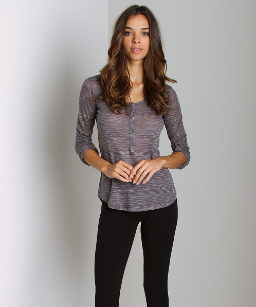 Splendid Loose Knit Henley Grey