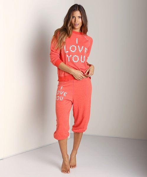 WILDFOX Cropped Morning Sweats Little Heart Spell Life Guard