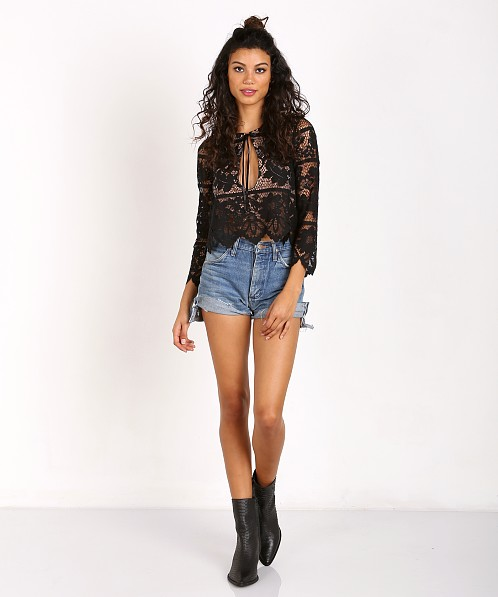 7f7b1e2d401 For Love & Lemons Gianna Crop Top Black T1263L - Free Shipping at Largo  Drive