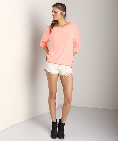 WILDFOX Baggy Beach Jumper Neon Coral