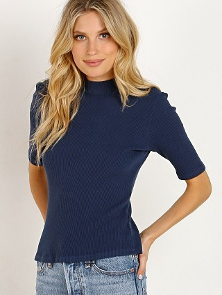 LACAUSA Sweater Rib Mock Neck Oxford