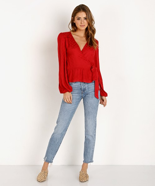 LACAUSA Peral Wrap Top Apple