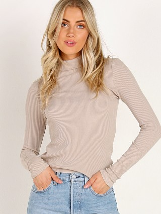 LACAUSA Sweater Rib Turtle Neck Oatmeal