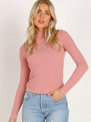 LACAUSA Sweater Rib Turtle Neck Strawberry