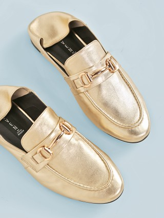 Steve Madden Santana Convertible Loafers Gold Leaf