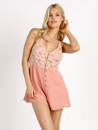 Model in dusty rose Somedays Lovin Sun Beams & Daydreams Playsuit