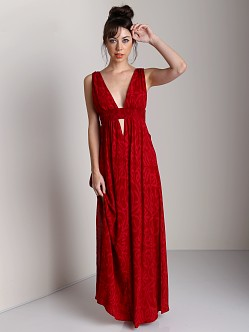 Indah Anjeli Printed Maxi Dress Antik Red