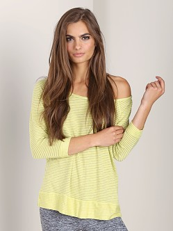 Beyond Yoga Wide Neck Pullover Lemon Ice Stripe