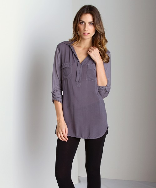 Splendid Shirting Long Sleeve Top Shadow