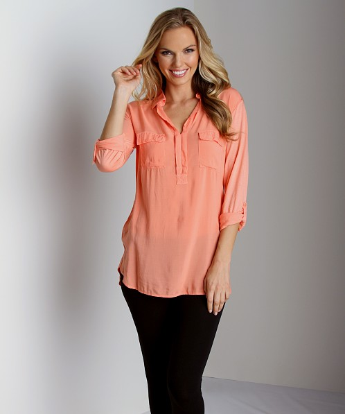Splendid Shirting Long Sleeve Top Apricot