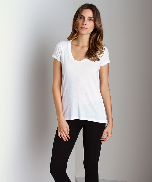Splendid Very Light Jersey U Neck T-Shirt White