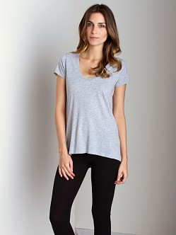 Splendid Very Light Jersey U Neck T-Shirt Heather