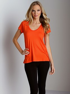 Splendid Very Light Jersey U Neck T-Shirt Flame