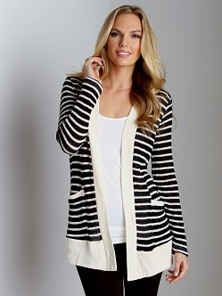 Splendid Panama Stripe Loose Knit Cardigan Black