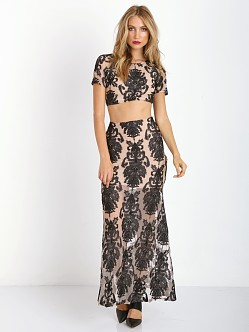 For Love & Lemons Ethereal Maxi Skirt Black/Nude