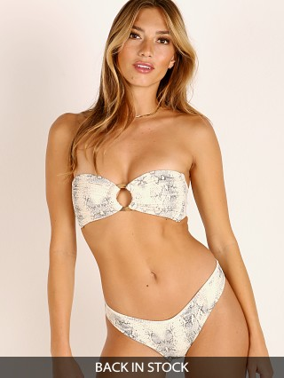 Model in snake rib Montce Tori Bandeau Bikini Top
