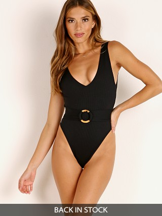 Model in black rib Montce Kim One Piece