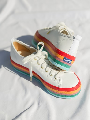 Keds Triple Up Rainbow Foxing Leather Sneaker White w/ Rainbow