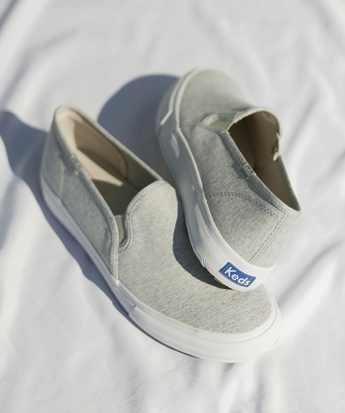 Keds Double Decker Heathered Woven Slip On Sneaker Light Grey