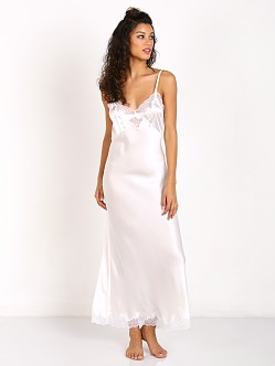 Only Hearts Charmeuse Long Satin Chemise Antique White