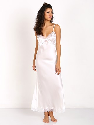 Model in antique white Only Hearts Silk Charmeuse Long Slip