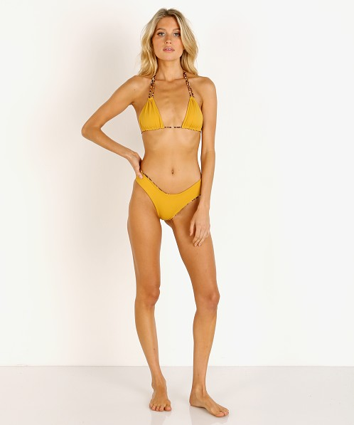 Indah Noelani Triangle Bikini Top Mustard with Cheetah Lining