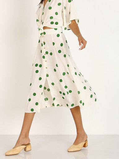 Model in lolita green dot Faithfull the Brand Marin Skirt