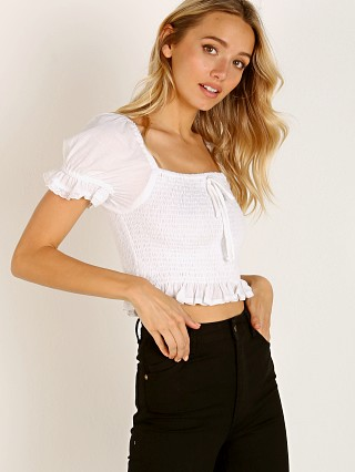 Model in white cotton Faithfull the Brand Marie Top White