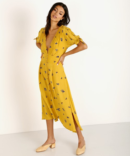 Faithfull the Brand Billie Midi Dress Dolores Yellow Floral