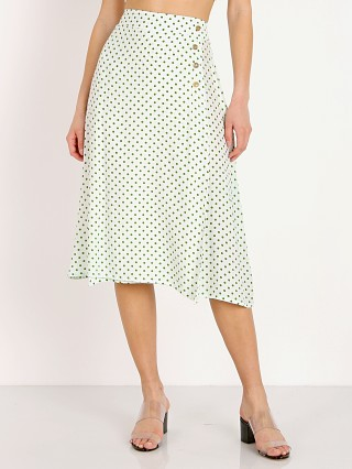 Model in lula dot print Faithfull the Brand Racquel Skirt