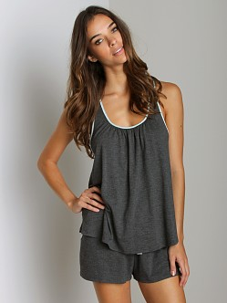 Fleur't Crush On You Lace Back Tank/Short Set Dark Charcoal