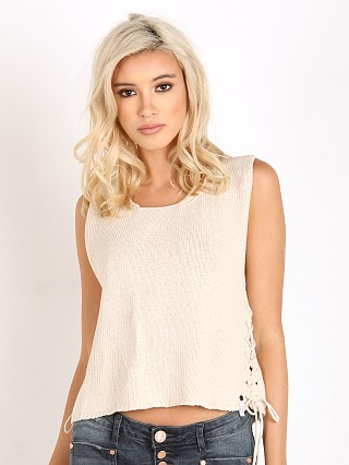 One Teaspoon Desert Eagle Cotton Knit Top Cream