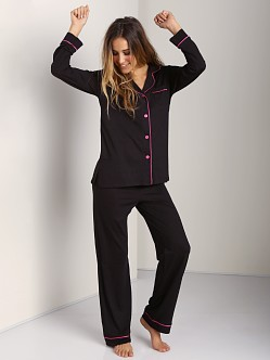Cosabella Bella Long Sleeve PJ Set Black/Miami Pink